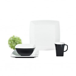 Tableware 20 Pieces Black and White