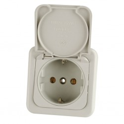 Safety Socket with Lid Light Grey