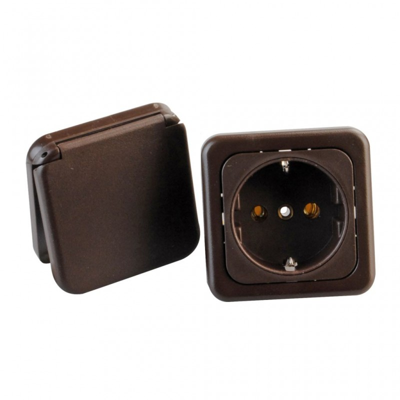 Safety Socket with Lid Brown