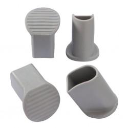 Floor protective caps, light grey, 4-piece set