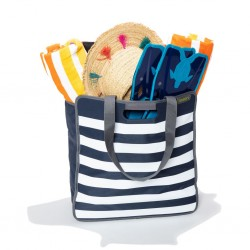 shopping bag meori, marine blue, stripes
