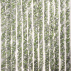 Chenille Door Curtain Grey/White/Green