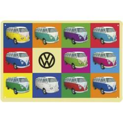 VW BUS METAL SIGN - MULTICOLOR