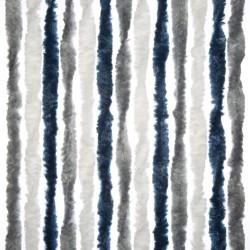 Chenille Door Curtain Dark Blue/White/Grey