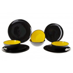 Tableware Set GreyLine Yellow, 12 Pieces